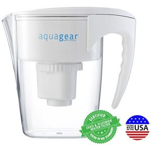 Aquagear Water Filter Pitcher - Fluoride, Lead, Chloramine, Chromium-6 Filter - BPA-Free, Clear Parent