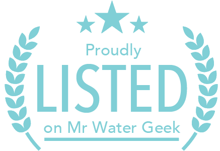 Drink Water Badge Blue Text