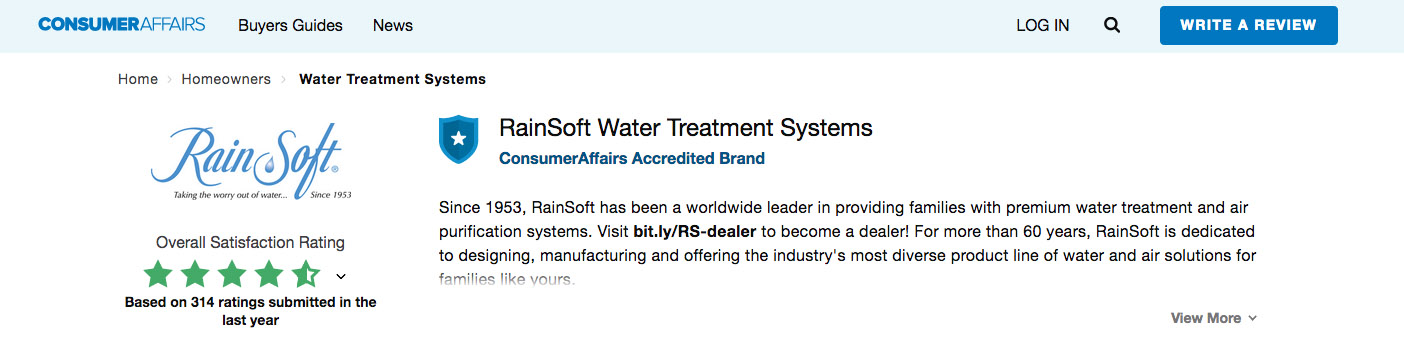 RainSoft Customer Reviews