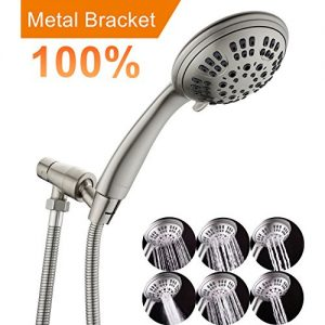 G-Promise Brushed Nickel High Pressure Shower Head Premium 6 Spray Setting Hand Held Shower Heads with Adjustable Solid Brass Shower Arm Mount Flexible Stainless Steel Hose and Teflon Tape