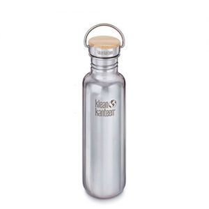 Klean Kanteen Reflect Single Wall Stainless Steel Plastic Free Water Bottle with Stainless Steel and Bamboo Cap